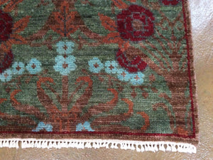 Modern Design Runner-Rug Hand-Knotted Hand-made 100-Percent Wool