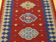 Load image into Gallery viewer, Modern Turkish Design Hand-Woven Kilim Handmade 100-Percent Wool Runner-Rug
