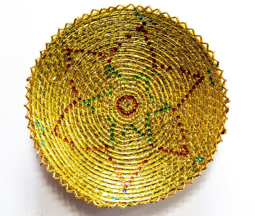 17 Inches Hand-Woven Southwestern Design Basket Golden Confetti Paper Brbsf-150