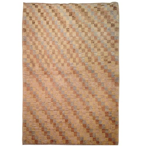 Hand-Knotted Oriental Peshawar Striped Design Gabbeh Wool Rug (Size 3.6 X 4.8) Brral-435