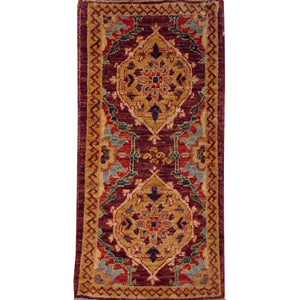 Hand-Knotted Stunning Traditional Peshawar Chobi Handmade Wool Rug (Size 1.9 X 3.6) Brral-4362