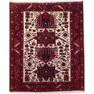Hand-Knotted Oriental Tribal Traditional Design Handmade Wool Rug (Size 3.10 X 5.5) Brral-4713