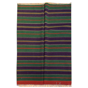 Hand-Woven Striped Design Handmade Reversible Kilim Wool Rug (Size 3.5 X 4.8) Brral-5187