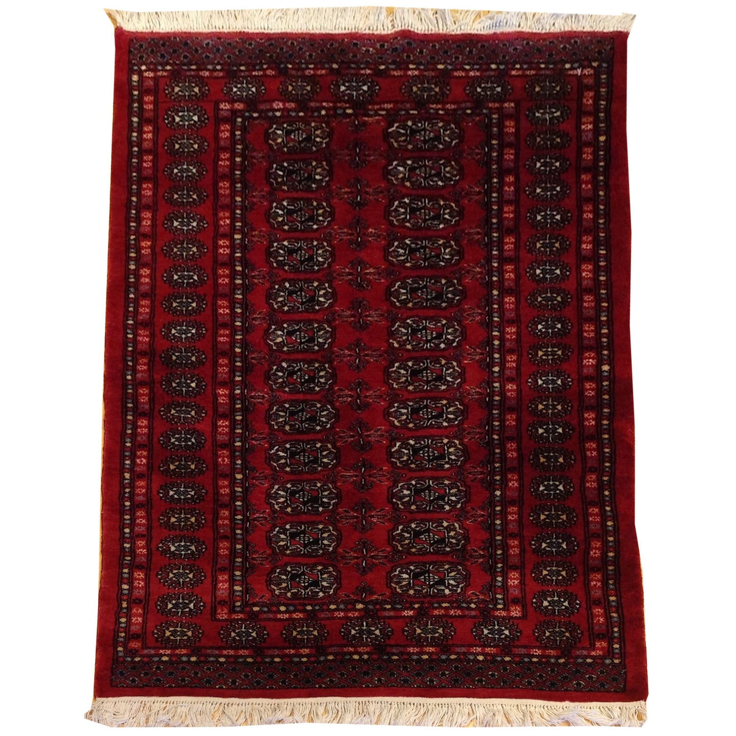 Hand-Knotted Oriental Jaldar Bokhara Design Wool Rug (Size 3.2 X 4.11) Brral-5697