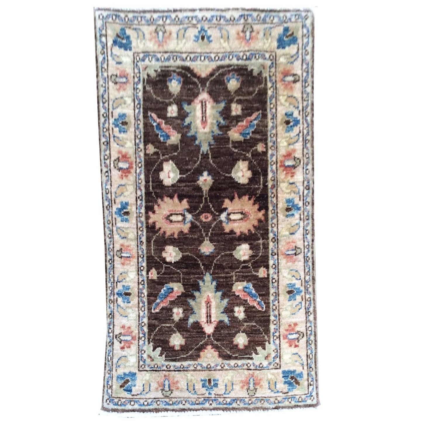 Hand-Knotted Floral Design Peshawar Handmade Wool Rug (Size 1.11 X 3.0) Brrsf-1677