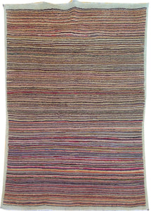 Hand-Knotted Fine Tribal Stripe Peshawar Gabbeh Design Wool Rug (Size 3.4 X 4.11) Brral-2478