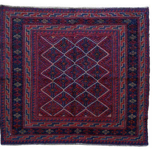 Hand-Knotted And Soumak Oriental Afghan Tribal Wool Rug (Size 3.9 X 3.10) Brrsf-510