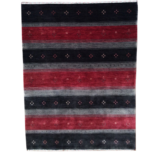 Hand-Loomed Stunning Modern Striped Gabbeh Wool Contemporary Rug (Size 4.1 X 6.1) Brrsf-666