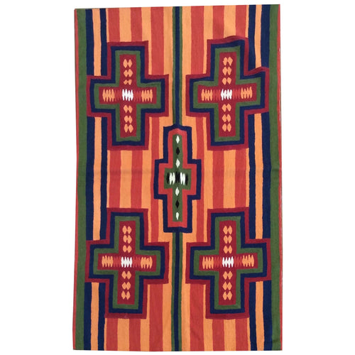 Chain-Stitched Kashmir Southwestern Handmade Wool Rug (Size 4.0 X 6.0) Brrsf-933