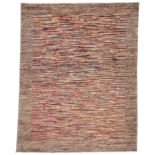 Hand-Knotted Peshawar Striped Gabbeh Design Wool Rug (Size 5.0 X 6.7) Brral-3213