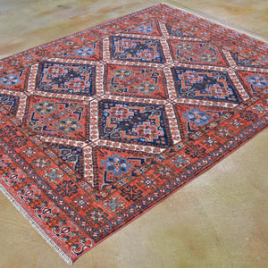 Hand-Knotted Afghan Tribal Handmade Authentic Wool Rug (Size 5.2 X 6.6) Brral-3225