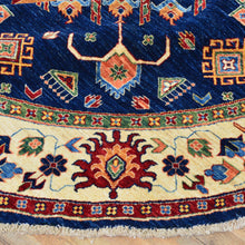 Load image into Gallery viewer, Hand-Knotted Round Caucasian Design Super Kazak Wool Rug (Size 8.0 X 8.2) Brral-5412