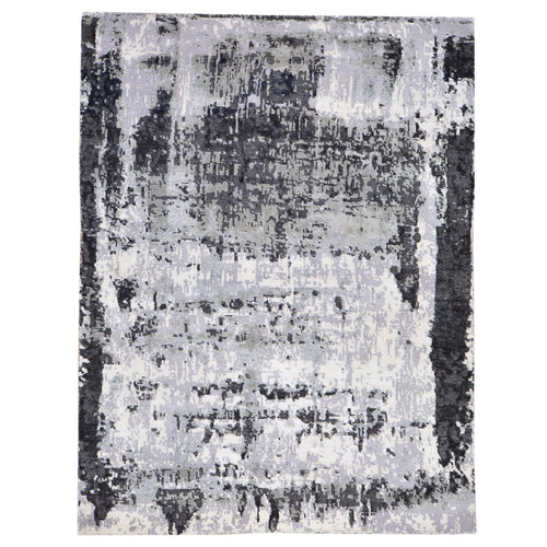 Hand-Knotted Modern Abstract Art Design Handmade Rug (Size 5.2 X 7.4) Brral-5418