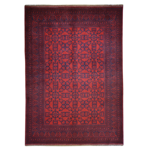 Hand-Knotted Turkmen Tribal Traditional Afghan Rug (Size 6.7 X 9.7) Brral-6336
