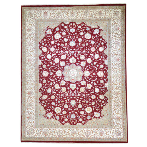 Fine Wool Silk Traditional Design Handmade Rug (Size 8.1 X 11.6) Brral-6426
