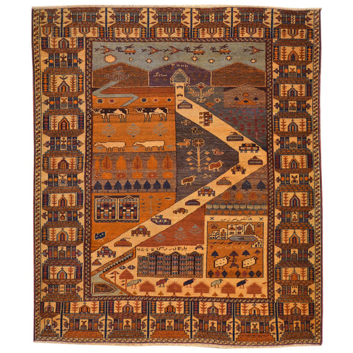 Hand-Knotted Afghan Tribal Pictorial Handmade Wool Rug (Size 4.8 X 6.0) Brral-6510