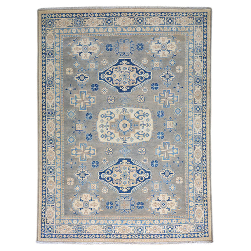 Hand-Knotted Kazak Caucasian Design Wool Rug (Size 4.9 X 6.8) Brral-6549