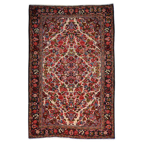 Hand-Knotted Persian Hamadan Wool Geometric Design Rug (Size 4.10 X 7.6) Brral-6552
