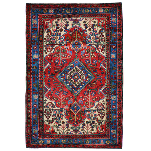 Hand-Knotted Persian Hamadan Wool Geometric Design Rug (Size 5.3 X 8.2) Brral-6555