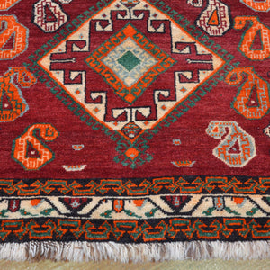 Hand-Knotted Vintage Persian Hamadan Authentic Wool Rug (Size 4.4 X 7.0) Brral-828