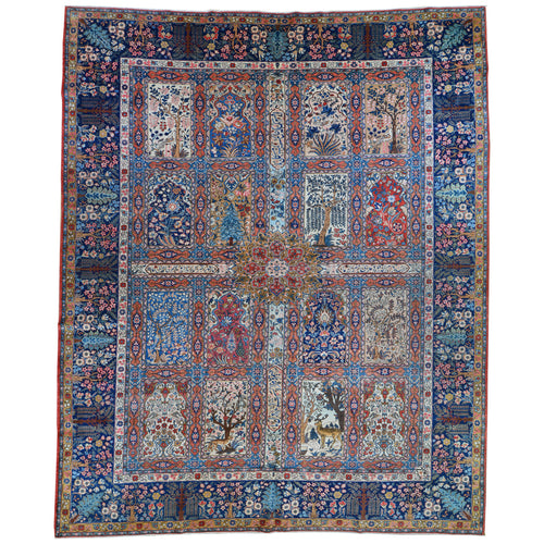Hand-Knotted Antique Bakhtiari Design Rug (Size 9.0 X 13.3) Brrsf-1665