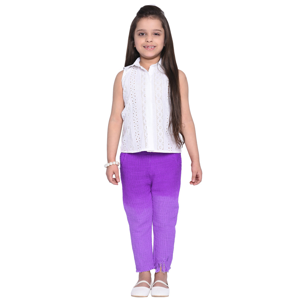 Raisa Purple Shirt & Pant Set for Girls