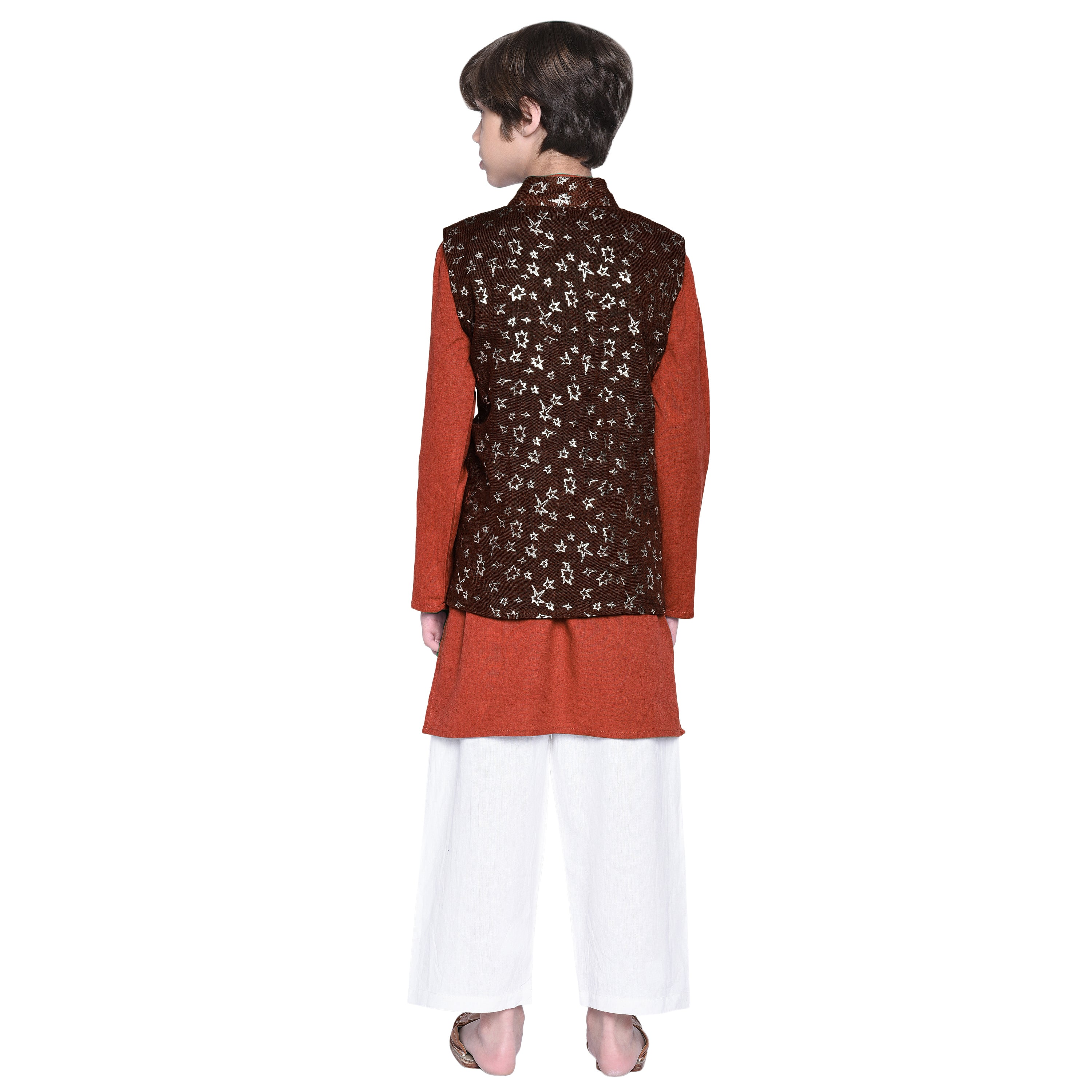 Matteo Rust kurta & Pajama with Jacket Set for Boys