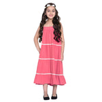 Layla peach Dress & Shrug Set for Girls