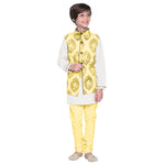 Nels Yellow Kurta & Pajama with Jacket Set for Boys