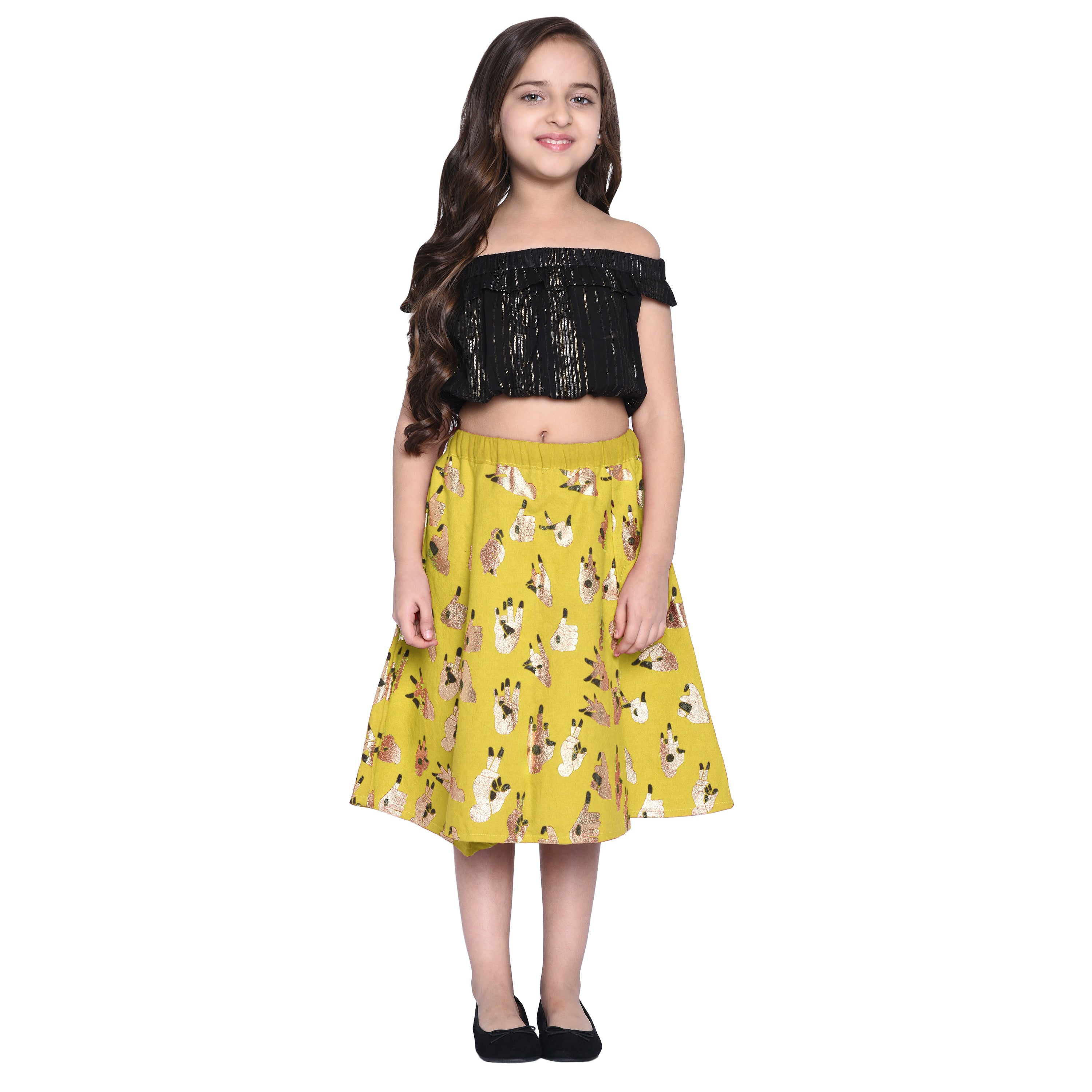 Klara Yellow Crop Top & Skirt Set for Girls