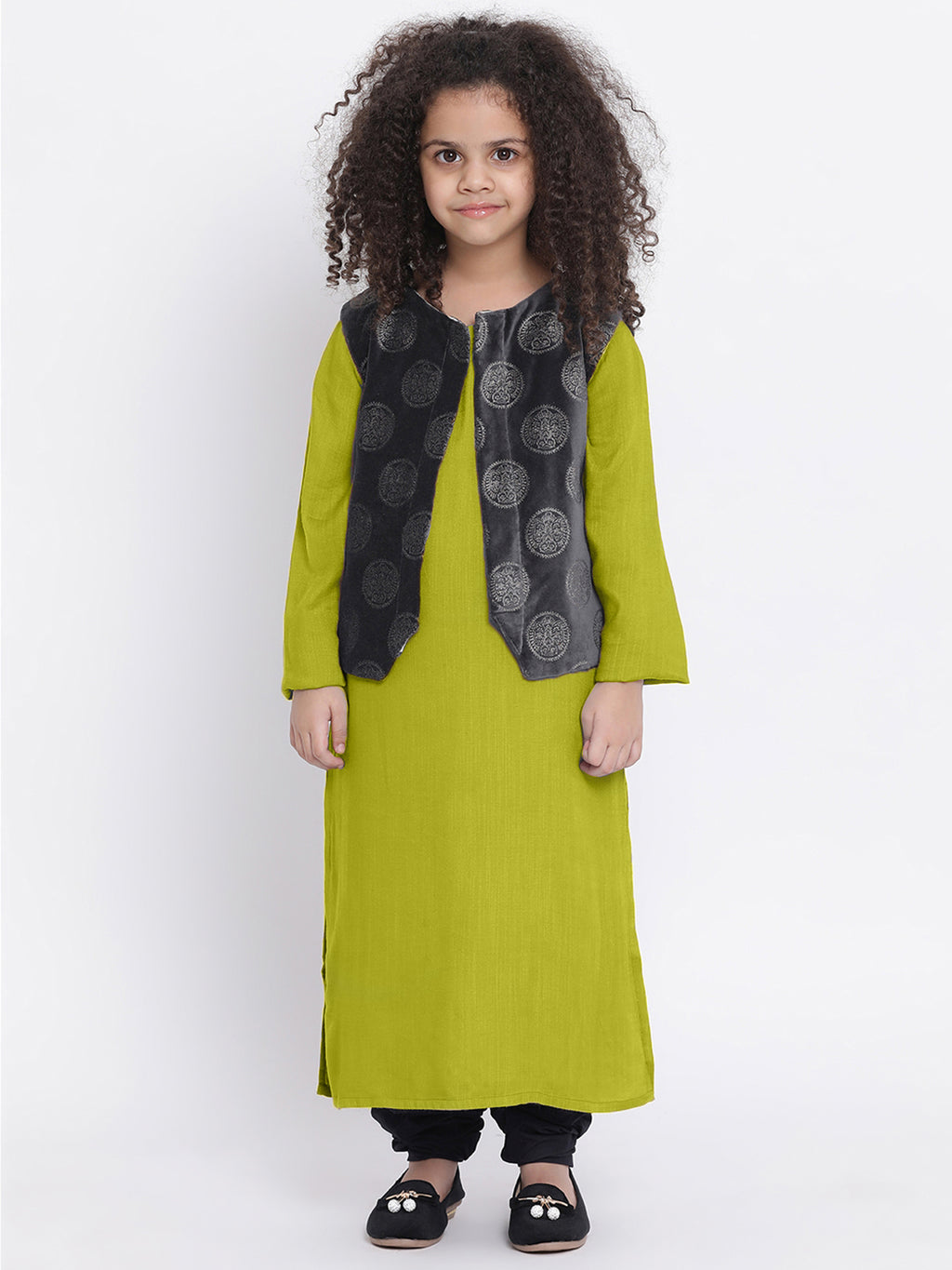 URVI Apple Green Kurta pajama with shrug for Girls