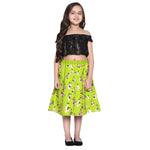 Klara Green Crop Top & Skirt Set for Girls