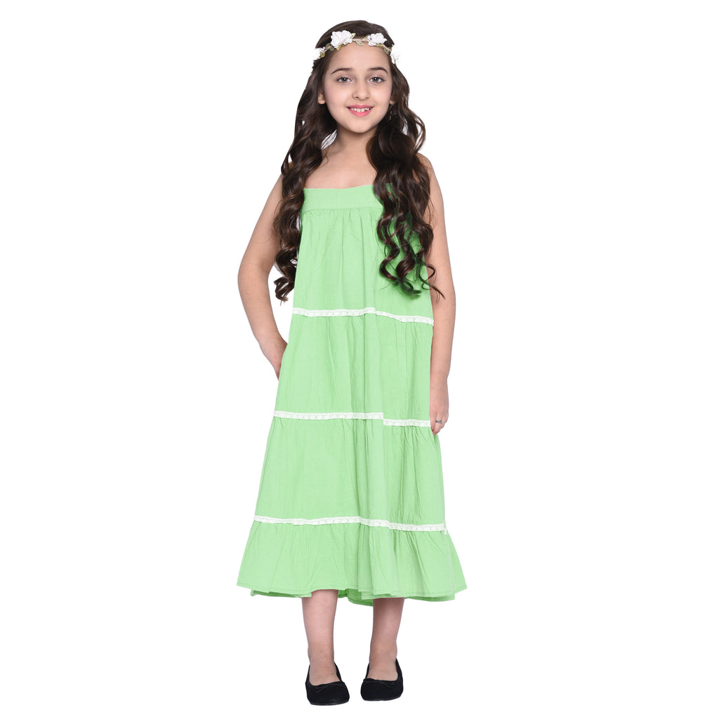 Layla green Dress & Shrug Set for Girls
