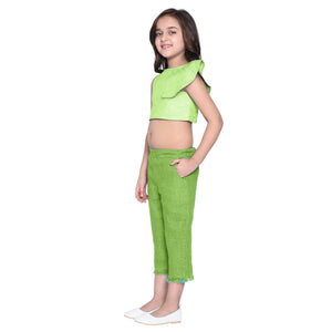 Celia Green Crop top & Capris Set for Girls