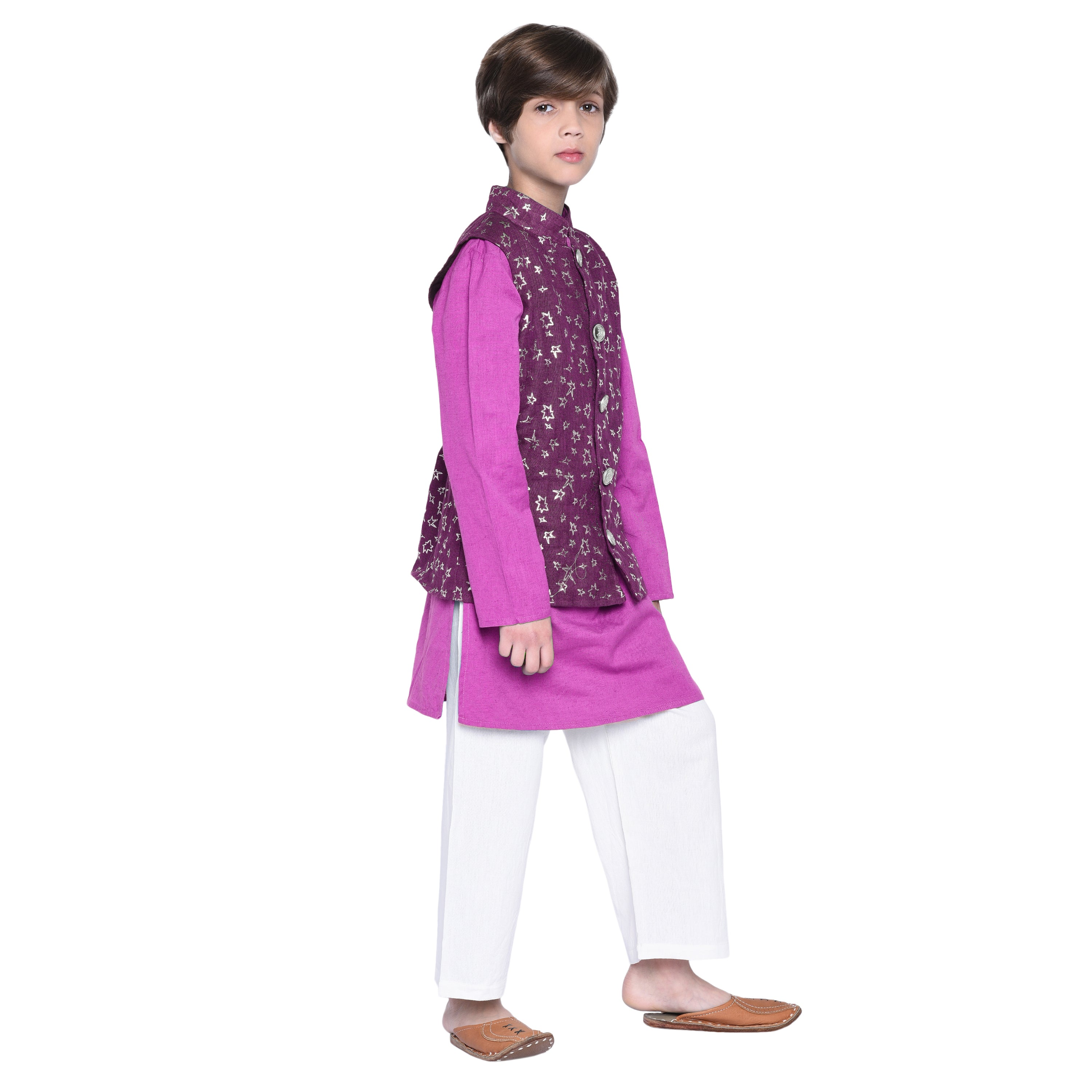 Matteo Pink kurta & Pajama with Jacket Set for Boys