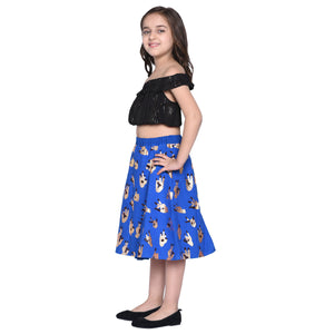 Klara Royal Crop Top & Skirt Set for Girls