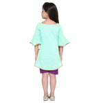 Fabia Sea Green Kurta and shorts set for Girls