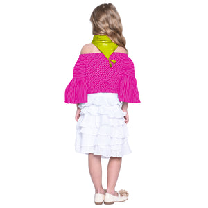 Tessa Pink Crop Top & Skirt with  Green Scarf Set for Girls