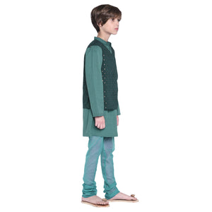 Franz Teal Kurta & Pajama with Jacket Set for Boys