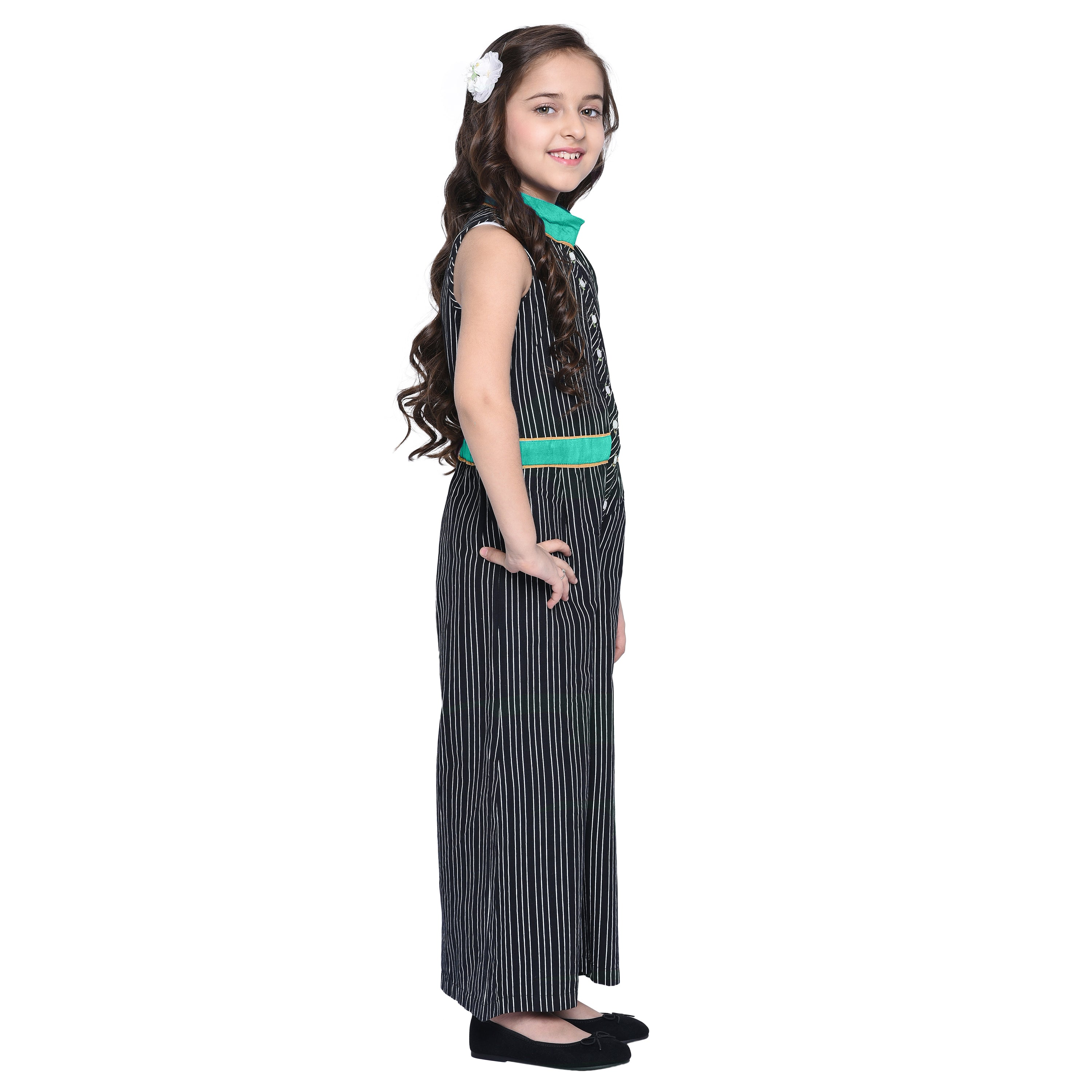 Lola3 Sea Green Jumpsuit For Girls
