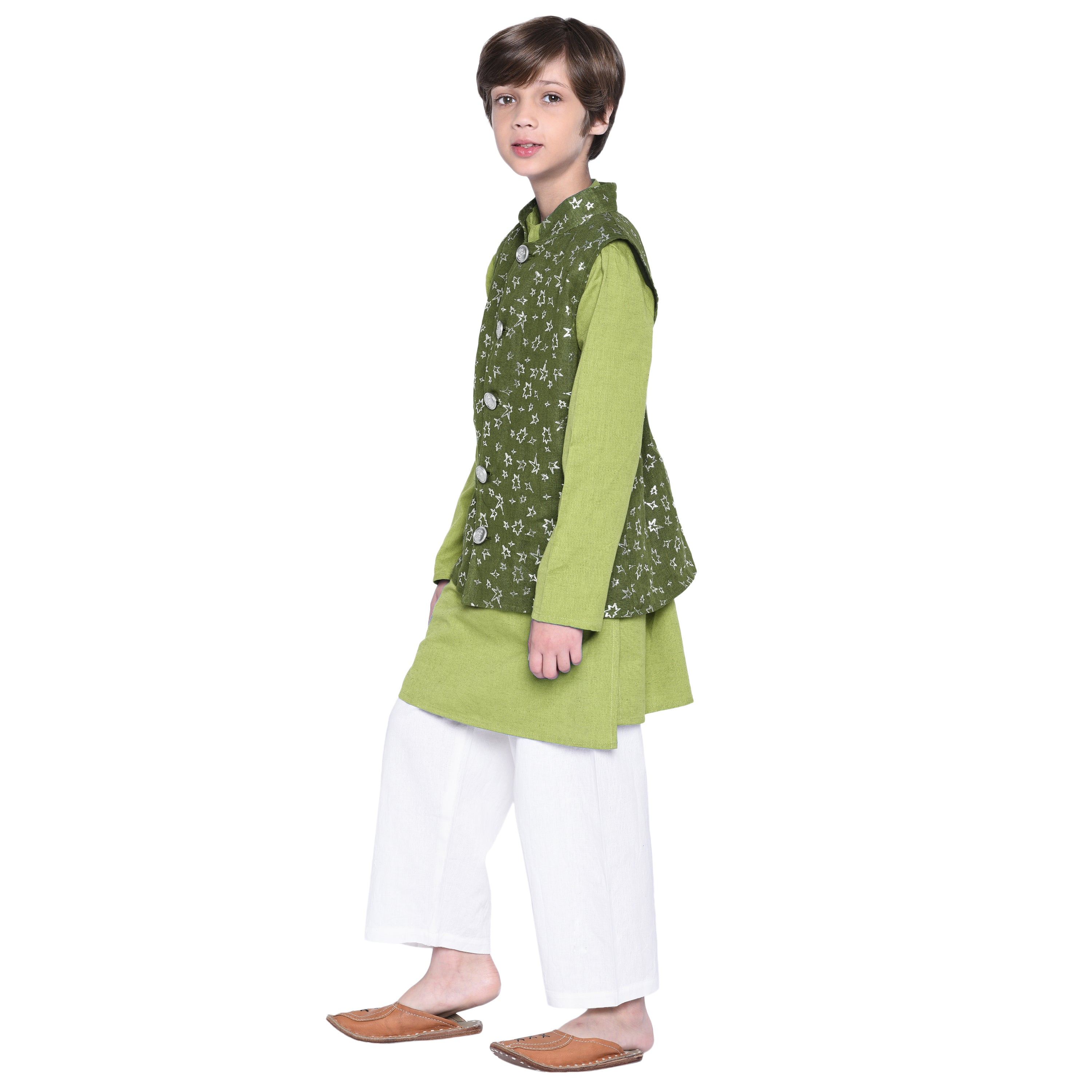 Matteo Green kurta & Pajama with Jacket Set for Boys