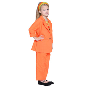 Libby Orange Pant & coat with Crop Top Set For Girls