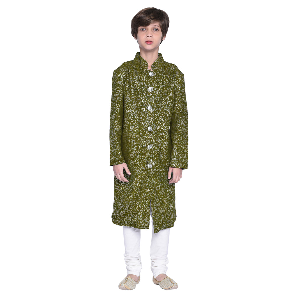 Niek Forest Green Sherwani Set for Boys