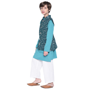Matteo Blue kurta & Pajama with Jacket Set for Boys