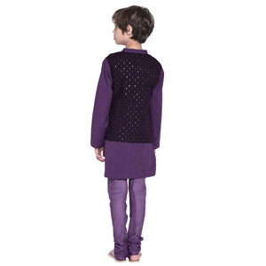 Franz Purple Kurta & Pajama with Jacket Set for Boys