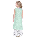 Otka Sea Green Crop Top & Palazzo with Shrug Set for Girls