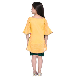 Fabia Yellow Kurta and Green shorts set for Girls