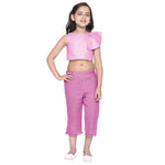 Celia Pink Crop top & Capris Set for Girls