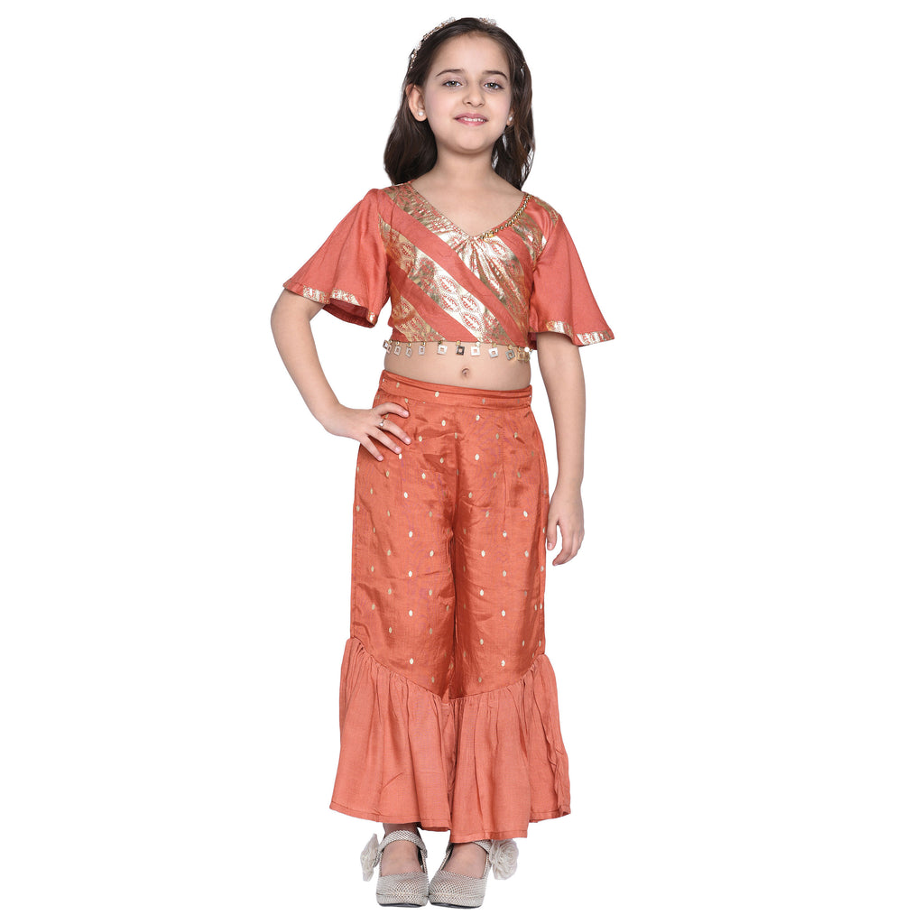 Dagny Crop Top and Palazzo Sets for Girls