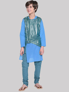 Derek Royal Blue Kurta & Pajama With Waistcoat Set for Boys